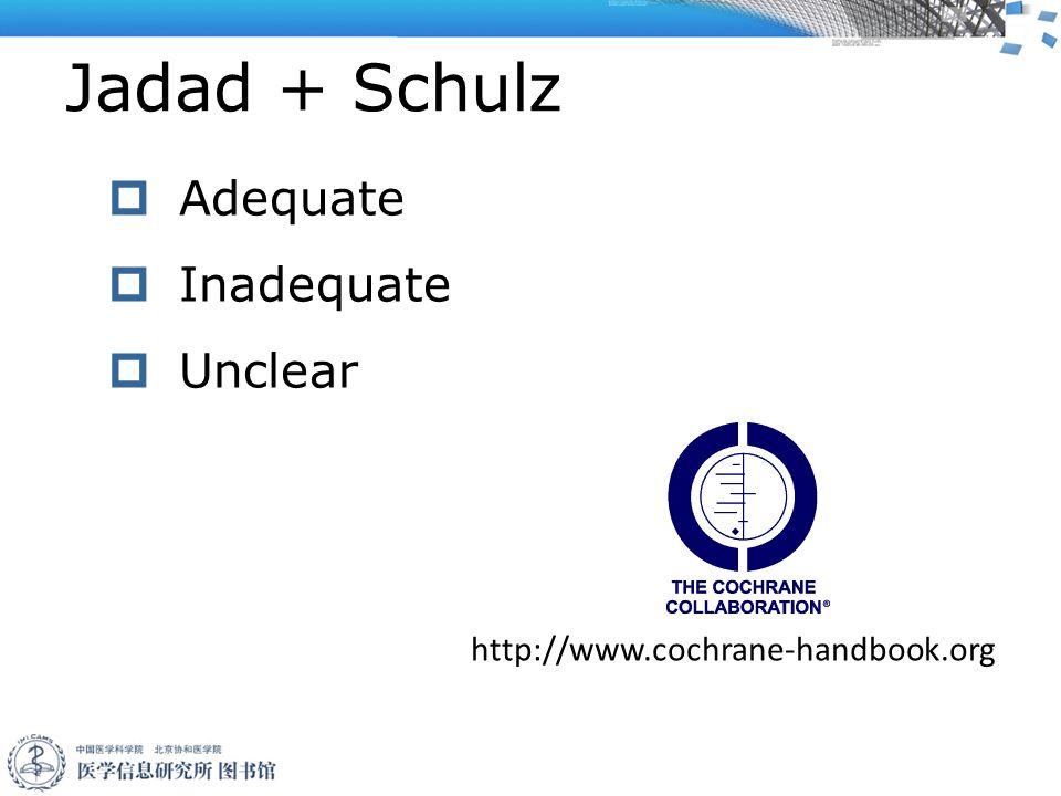 Jadad + Schulz  Adequate  Inadequate  Unclear http://www.cochrane-handbook.org