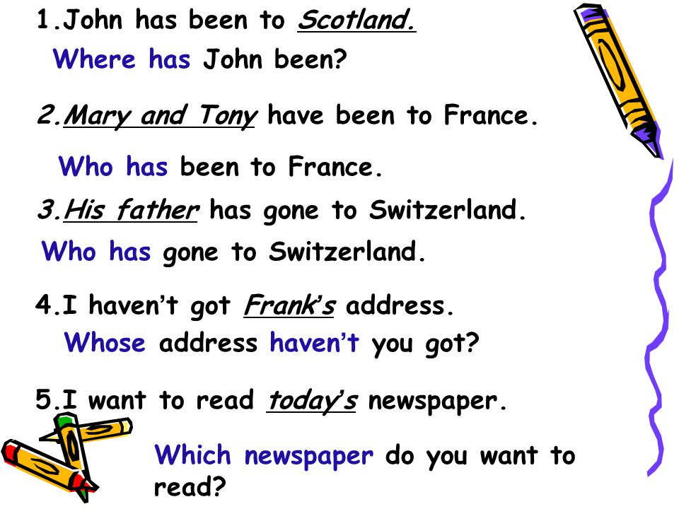 1.John has been to Scotland. 2.Mary and Tony have been to France. 3.His father has gone to Switzerland. 4.I haven ' t got Frank ' s address. 5.I want