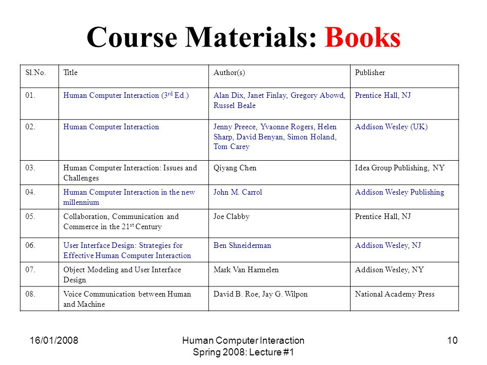 16/01/2008Human Computer Interaction Spring 2008: Lecture #1 10 Course Materials: Books Sl.No.TitleAuthor(s)Publisher 01.Human Computer Interaction (3 rd Ed.)Alan Dix, Janet Finlay, Gregory Abowd, Russel Beale Prentice Hall, NJ 02.Human Computer InteractionJenny Preece, Yvaonne Rogers, Helen Sharp, David Benyan, Simon Holand, Tom Carey Addison Wesley (UK) 03.Human Computer Interaction: Issues and Challenges Qiyang ChenIdea Group Publishing, NY 04.Human Computer Interaction in the new millennium John M.