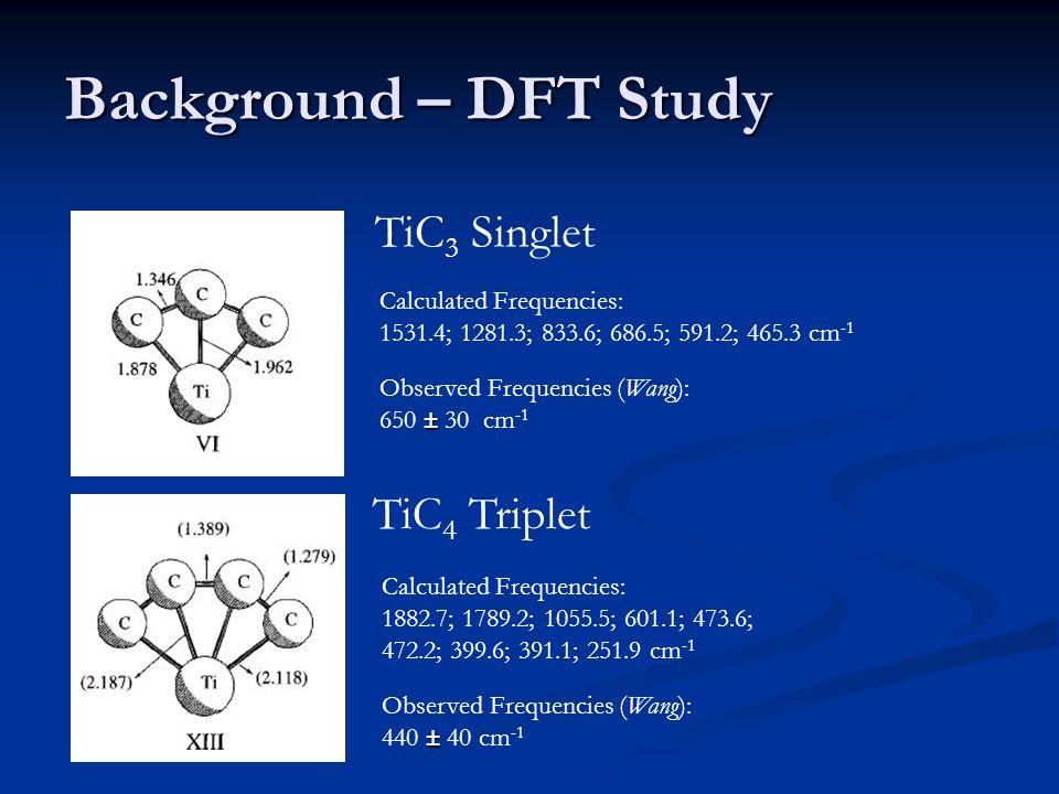 Background – DFT Study TiC 3 Singlet TiC 4 Triplet Calculated Frequencies: 1531.4; 1281.3; 833.6; 686.5; 591.2; 465.3 cm -1 Calculated Frequencies: 1882.7; 1789.2; 1055.5; 601.1; 473.6; 472.2; 399.6; 391.1; 251.9 cm -1 Observed Frequencies (Wang): ± 650 ± 30 cm -1 Observed Frequencies (Wang): ± 440 ± 40 cm -1