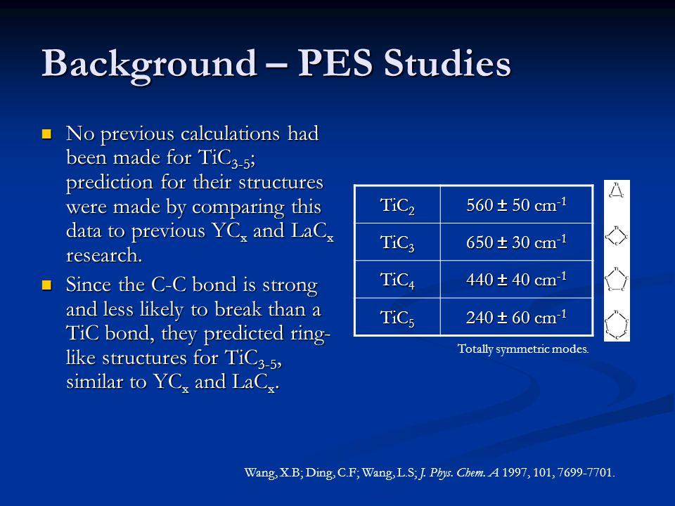 Background – PES Study Problem: The vibrational fundamental of the neutral molecule is extrapolated from the higher vibrational energy levels.