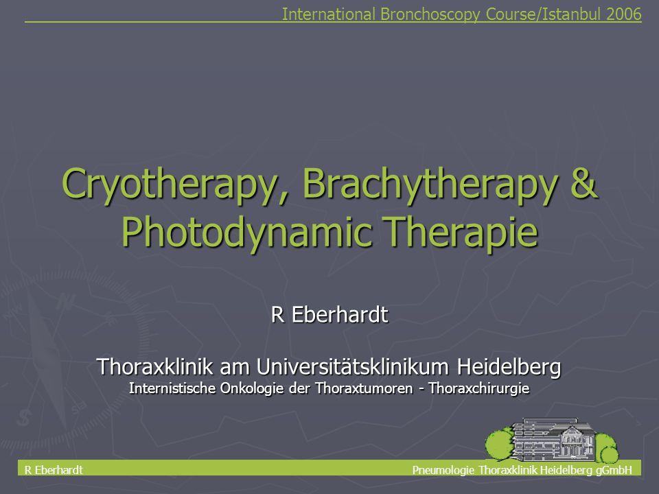 1 Cryotherapy, Brachytherapy & Photodynamic Therapie R Eberhardt Thoraxklinik am Universitätsklinikum Heidelberg Internistische Onkologie der Thoraxtu