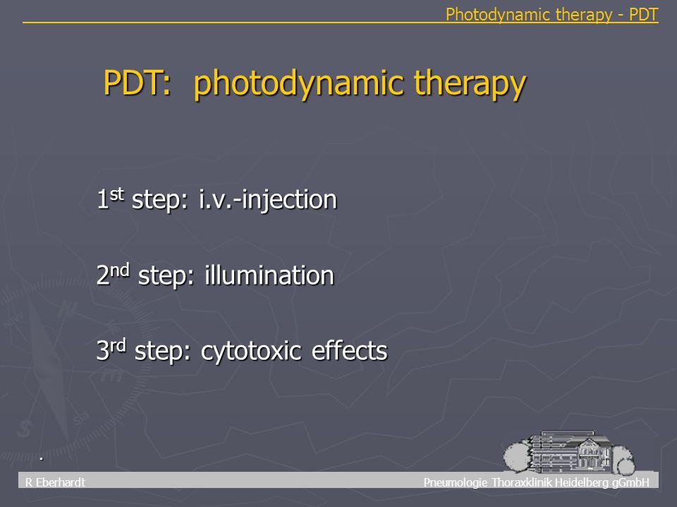 10 R Eberhardt Pneumologie Thoraxklinik Heidelberg gGmbH Photodynamic therapy - PDT. 1 st step: i.v.-injection 2 nd step: illumination 3 rd step: cyto