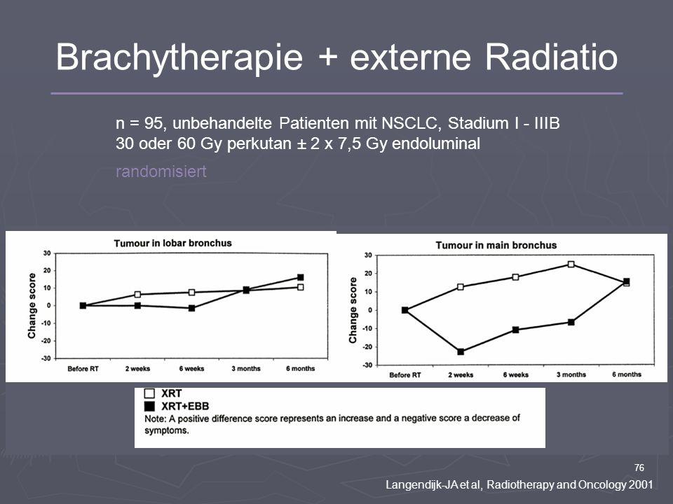 76 n = 95, unbehandelte Patienten mit NSCLC, Stadium I - IIIB 30 oder 60 Gy perkutan ± 2 x 7,5 Gy endoluminal randomisiert Langendijk-JA et al, Radiot