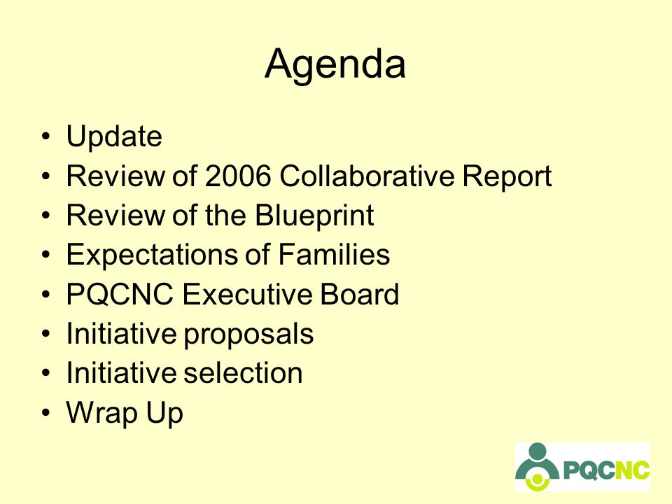 Agenda Update Review of 2006 Collaborative Report Review of the Blueprint Expectations of Families PQCNC Executive Board Initiative proposals Initiative selection Wrap Up
