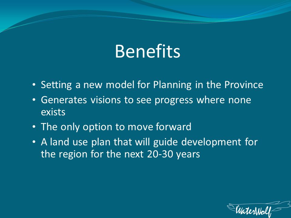 The Players Federal Government - Funding Provincial Government – Facilitation Municipal Government – Administration of new bylaws Land Owners – Want to know where developments will take place so they are not negatively affected Developers – Want to know which geographic areas they can invest in without conflict Business and Industry