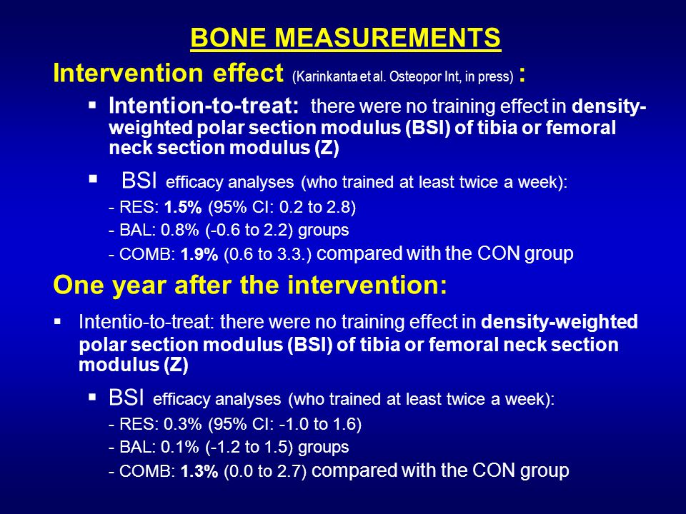 BONE MEASUREMENTS Intervention effect (Karinkanta et al.