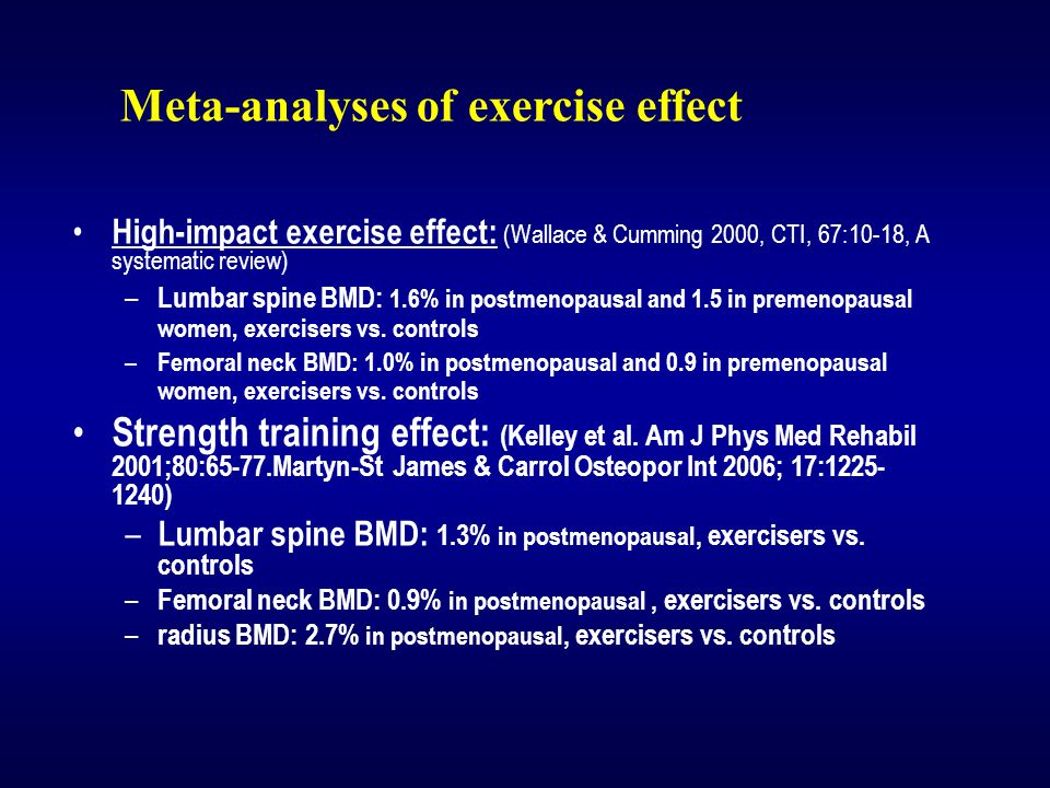 High-impact exercise effect: (Wallace & Cumming 2000, CTI, 67:10-18, A systematic review) – Lumbar spine BMD: 1.6% in postmenopausal and 1.5 in premenopausal women, exercisers vs.