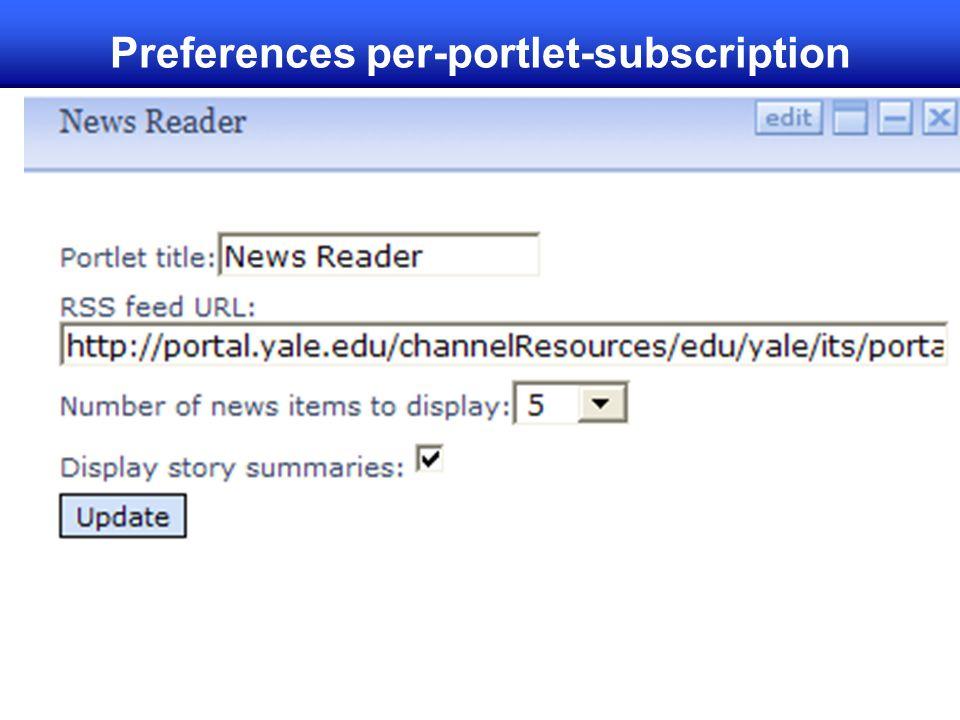 Preferences per-portlet-subscription