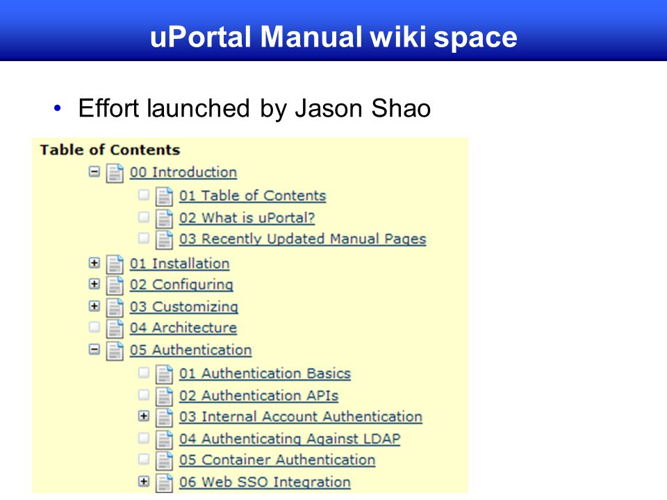uPortal Manual wiki space Effort launched by Jason Shao