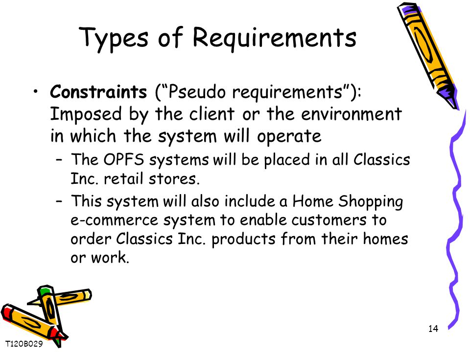14 Types of Requirements Constraints ( Pseudo requirements ): Imposed by the client or the environment in which the system will operate –The OPFS systems will be placed in all Classics Inc.