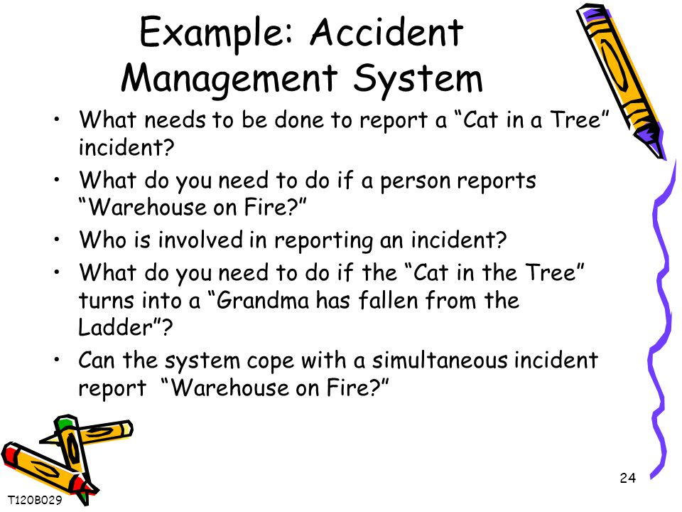 24 Example: Accident Management System What needs to be done to report a Cat in a Tree incident.