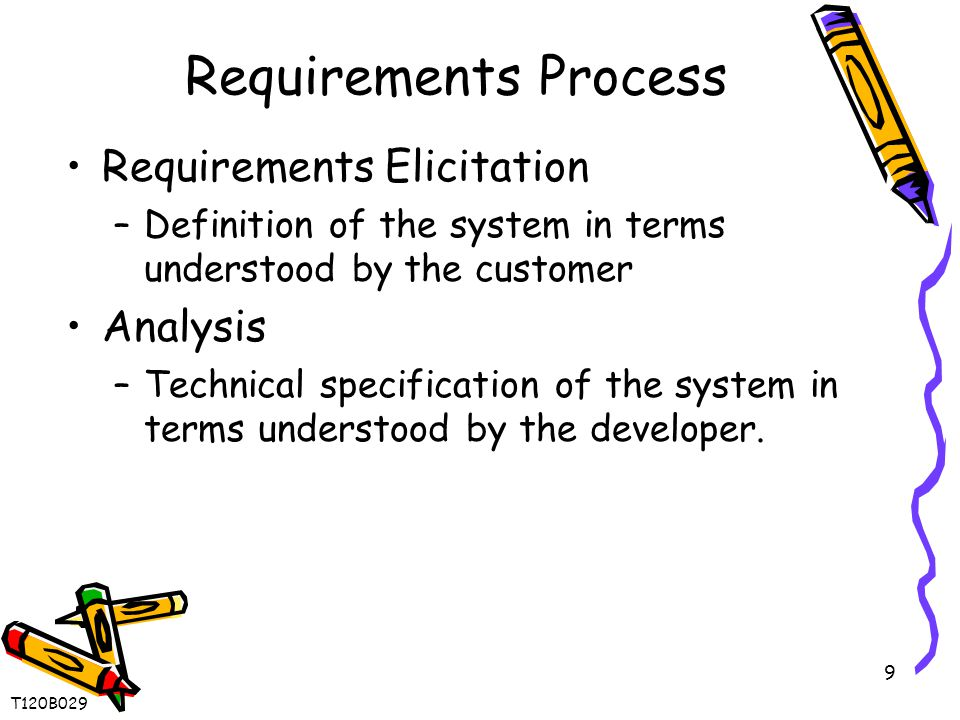 9 Requirements Process Requirements Elicitation –Definition of the system in terms understood by the customer Analysis –Technical specification of the system in terms understood by the developer.