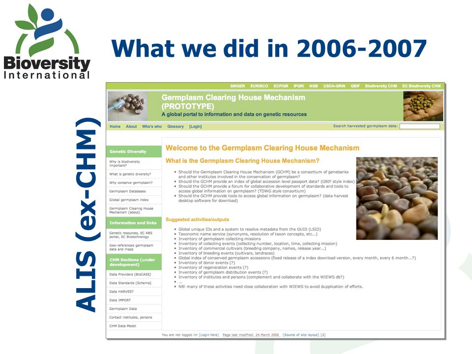 What we did in 2006-2007 ALIS (ex-CHM)