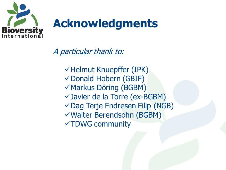 Acknowledgments A particular thank to: Helmut Knuepffer (IPK) Donald Hobern (GBIF) Markus Döring (BGBM) Javier de la Torre (ex-BGBM) Dag Terje Endrese