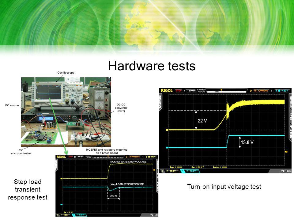 Hardware tests Step load transient response test Turn-on input voltage test