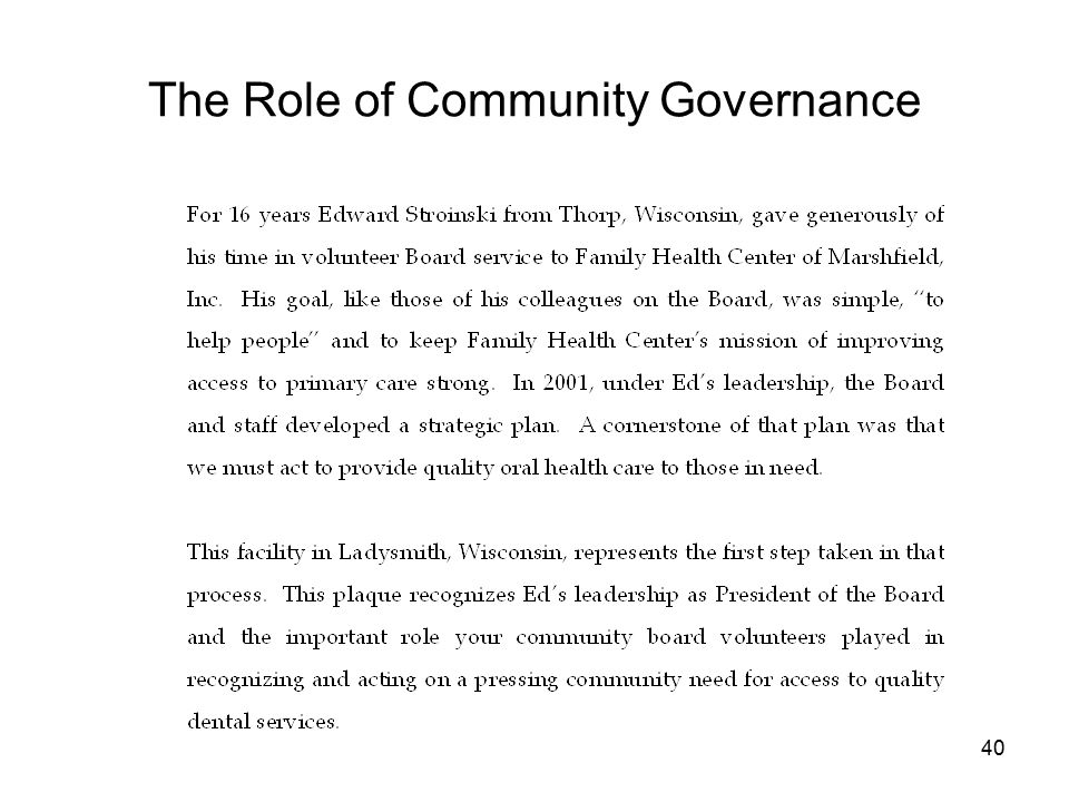 40 The Role of Community Governance