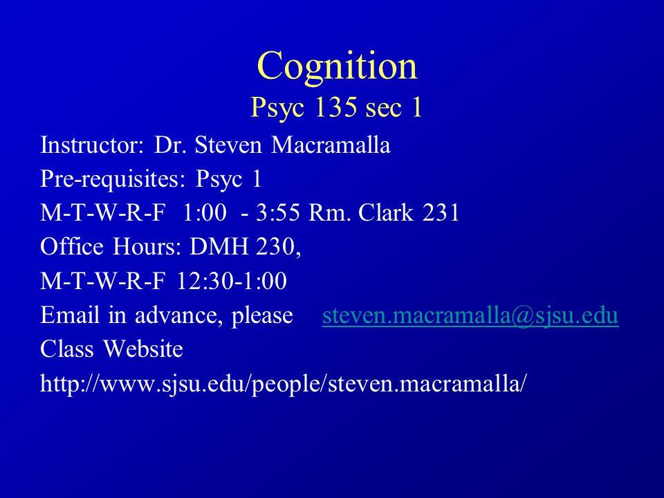 Cognition Psyc 135 sec 1 Enrollment Last Day To Drop: Mon Feb.