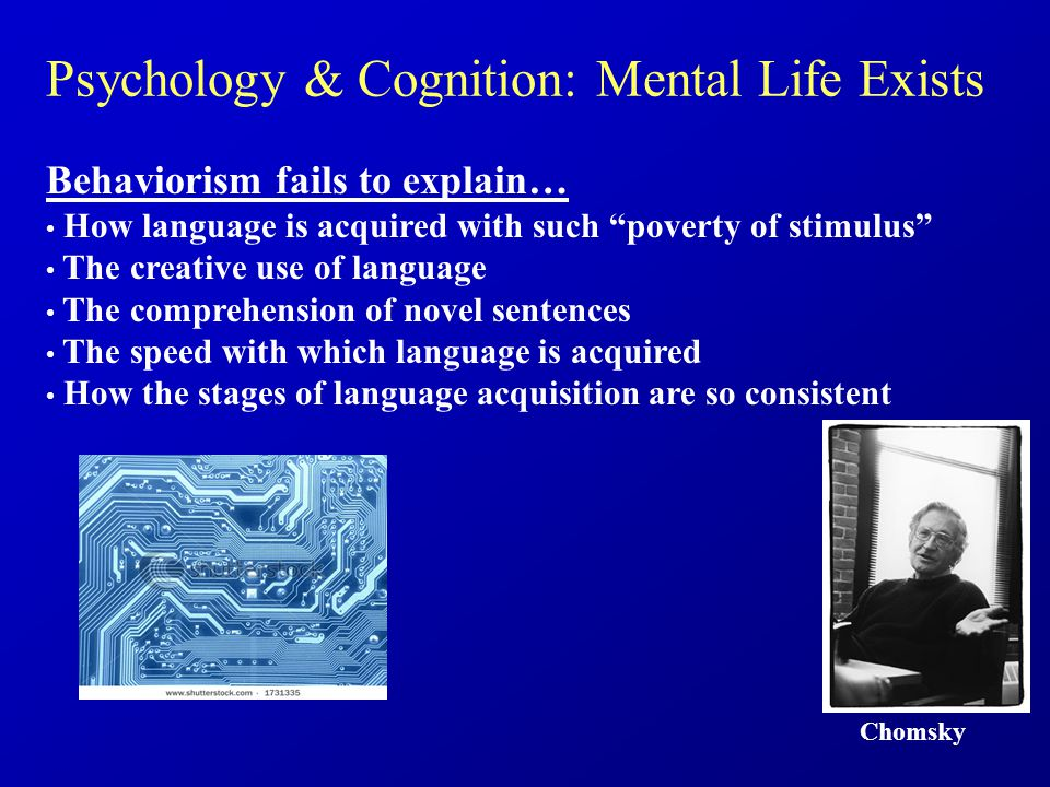 Chomsky Behaviorism fails to explain… How language is acquired with such poverty of stimulus The creative use of language The comprehension of novel sentences The speed with which language is acquired How the stages of language acquisition are so consistent Psychology & Cognition: Mental Life Exists