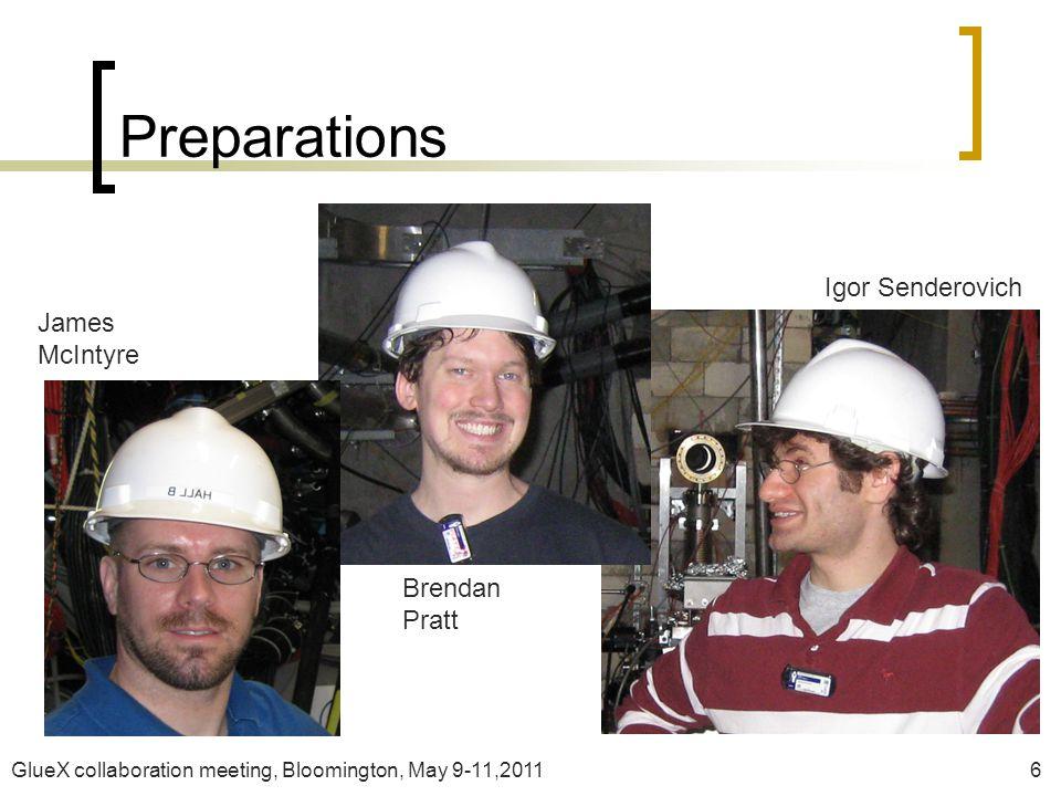 GlueX collaboration meeting, Bloomington, May 9-11,20116 Preparations James McIntyre Brendan Pratt Igor Senderovich