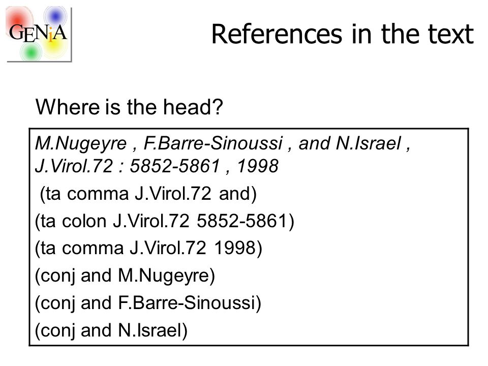 References in the text M.Nugeyre, F.Barre-Sinoussi, and N.Israel, J.Virol.72 : 5852-5861, 1998 (ta comma J.Virol.72 and) (ta colon J.Virol.72 5852-586