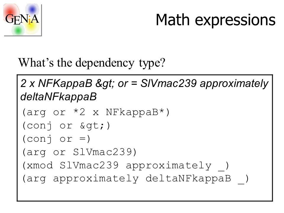 Math expressions 2 x NFKappaB > or = SlVmac239 approximately deltaNFkappaB (arg or *2 x NFkappaB*) (conj or >) (conj or =) (arg or SlVmac239) (xmod SlVmac239 approximately _) (arg approximately deltaNFkappaB _) What's the dependency type