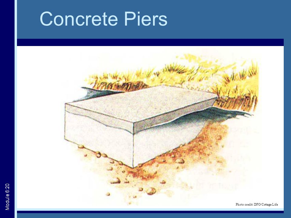 Concrete Piers Photo credit: DFO/Cottage Life Module 6:20