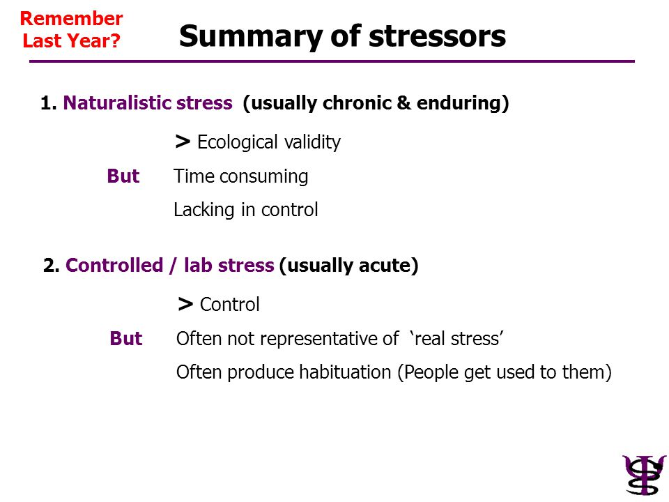 Summary of stressors 1. Naturalistic stress (usually chronic & enduring) > Ecological validity ButTime consuming Lacking in control 2. Controlled / la