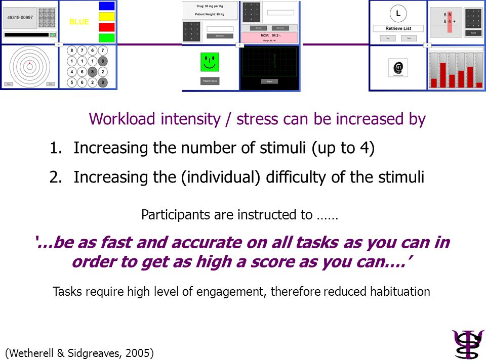 Workload intensity / stress can be increased by 1.Increasing the number of stimuli (up to 4) 2.Increasing the (individual) difficulty of the stimuli P