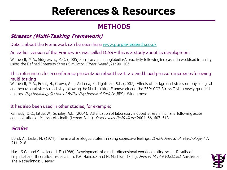 METHODS Stressor (Multi-Tasking Framework) Details about the Framework can be seen here www.purple-research.co.ukwww.purple-research.co.uk An earlier