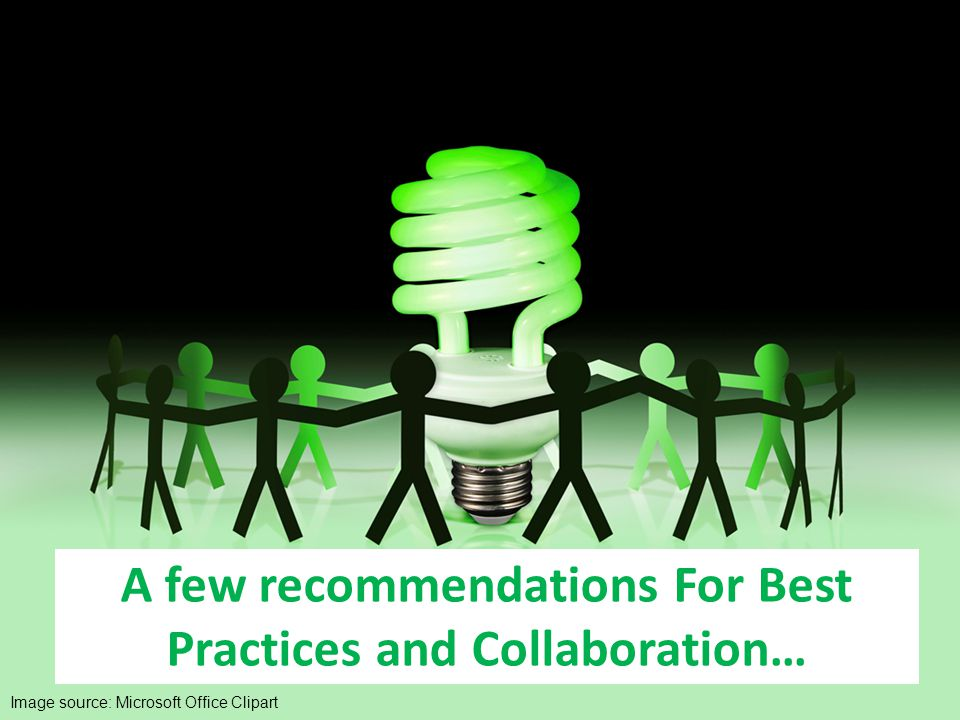 A few recommendations For Best Practices and Collaboration… Image source: Microsoft Office Clipart