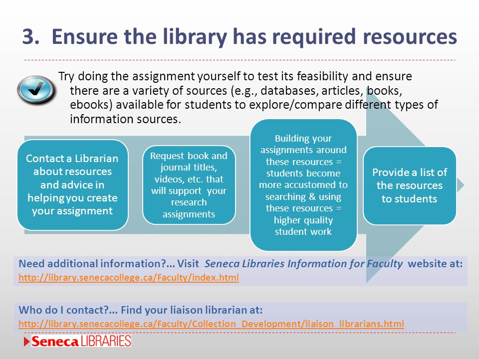 Contact a Librarian about resources and advice in helping you create your assignment Request book and journal titles, videos, etc. that will support y