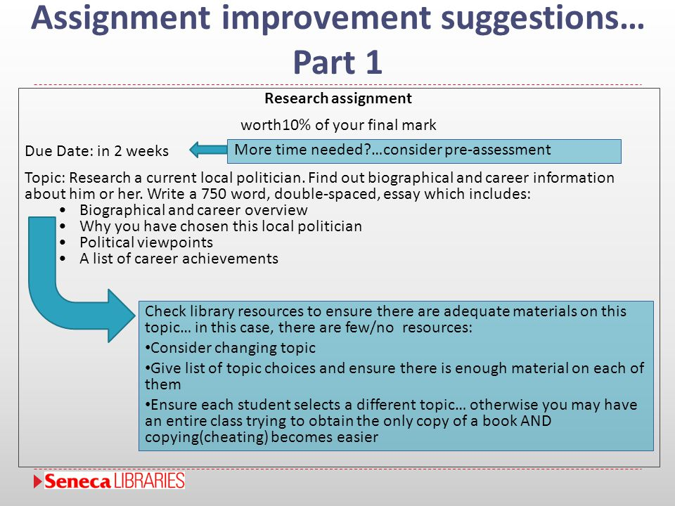 Assignment improvement suggestions… Part 1 Research assignment worth10% of your final mark Due Date: in 2 weeks Topic: Research a current local politi