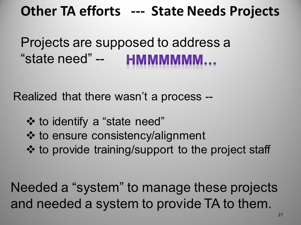 "Other TA efforts --- State Needs Projects Needed a ""system"" to manage these projects and needed a system to provide TA to them.  to identify a ""state"
