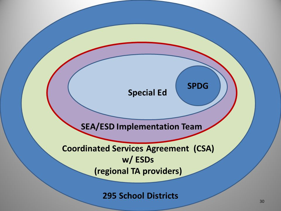 295 School Districts Coordinated Services Agreement (CSA) w/ ESDs (regional TA providers) SEA/ESD Implementation Team Special Ed SPDG 30