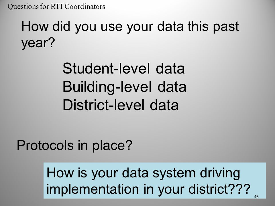 How did you use your data this past year? Student-level data Building-level data District-level data Protocols in place? How is your data system drivi