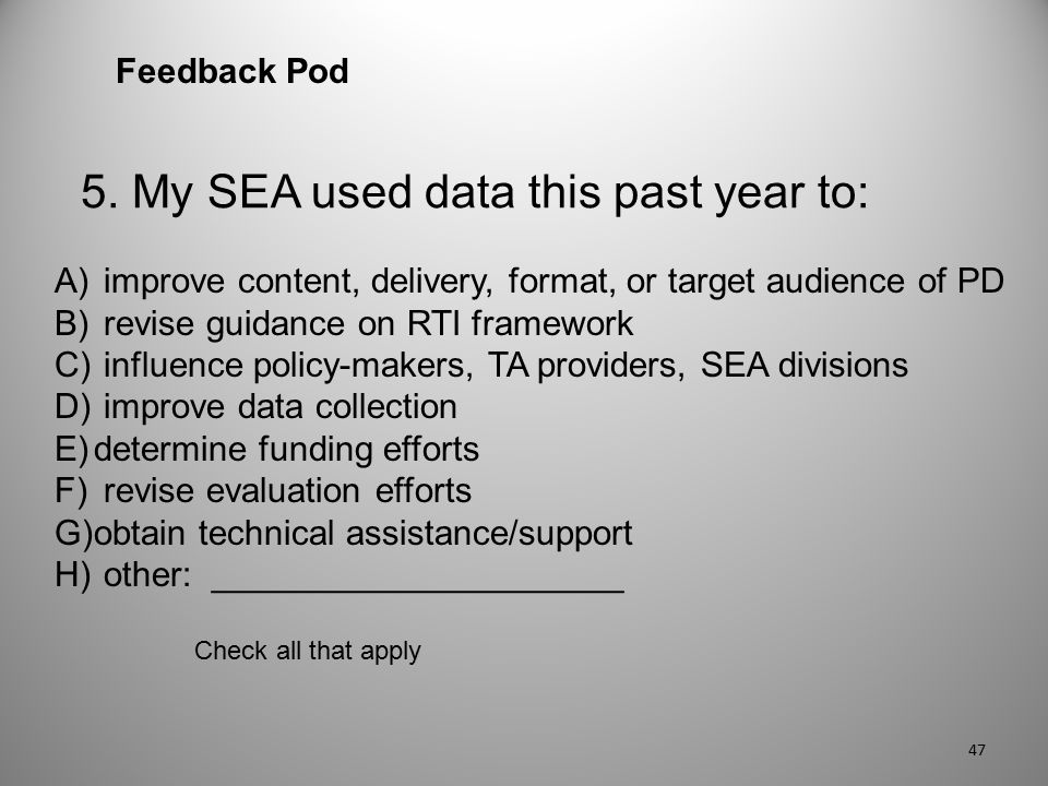5. My SEA used data this past year to: Feedback Pod A) improve content, delivery, format, or target audience of PD B) revise guidance on RTI framework