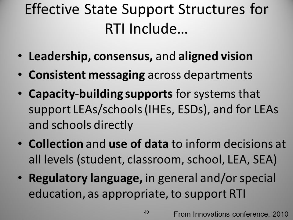 Effective State Support Structures for RTI Include… Leadership, consensus, and aligned vision Consistent messaging across departments Capacity-buildin