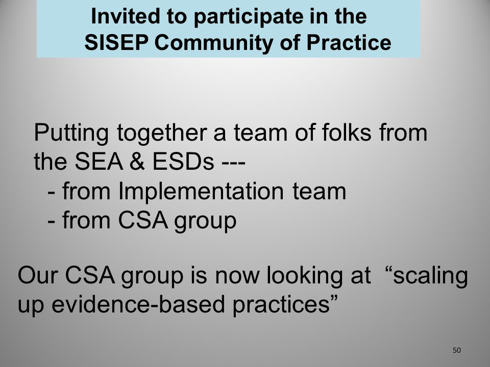 Invited to participate in the SISEP Community of Practice Putting together a team of folks from the SEA & ESDs --- - from Implementation team - from C