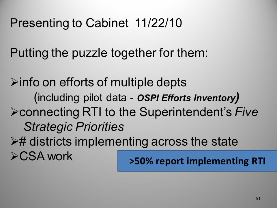 Presenting to Cabinet 11/22/10 Putting the puzzle together for them:  info on efforts of multiple depts ( including pilot data - OSPI Efforts Invento
