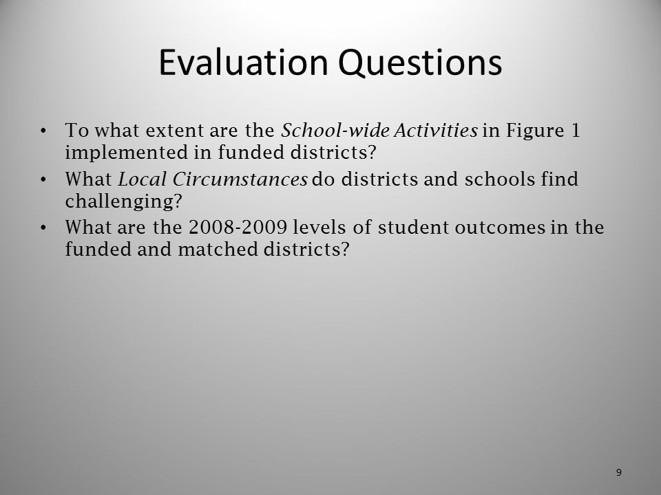 Evaluation Questions To what extent are the School-wide Activities in Figure 1 implemented in funded districts? What Local Circumstances do districts