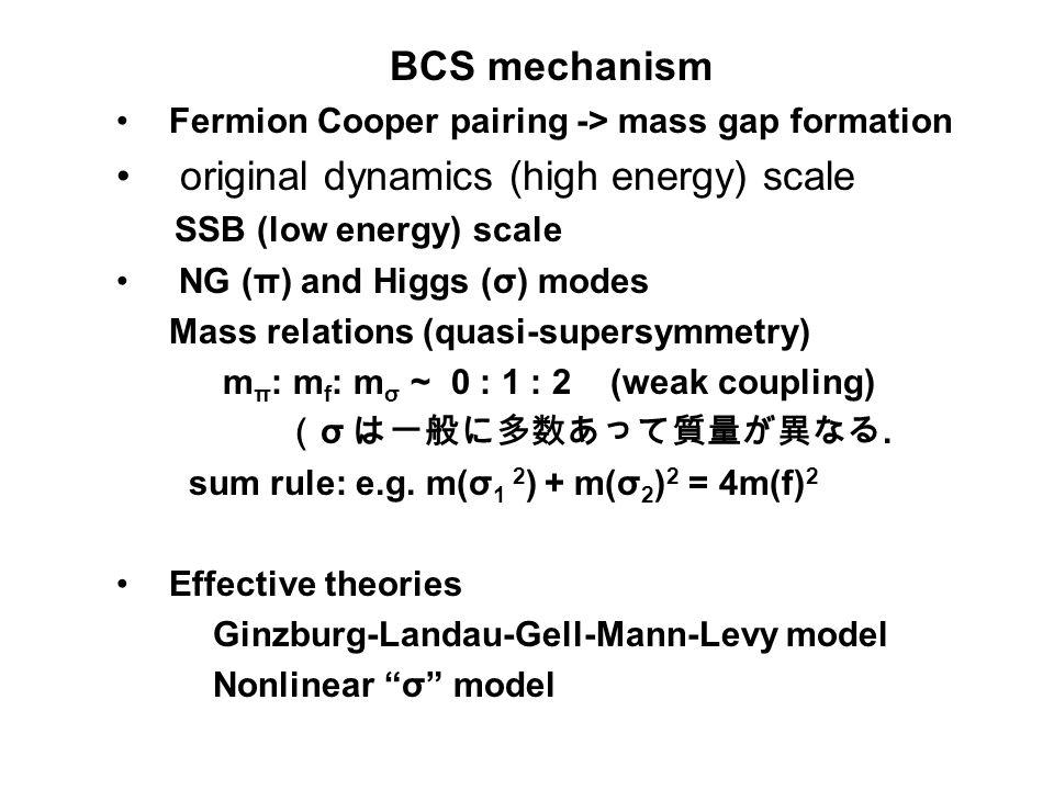BCS mechanism Fermion Cooper pairing -> mass gap formation original dynamics (high energy) scale SSB (low energy) scale NG (π) and Higgs (σ) modes Mass relations (quasi-supersymmetry) m π : m f : m σ ~ 0 : 1 : 2 (weak coupling) ( σ は一般に多数あって質量が異なる.