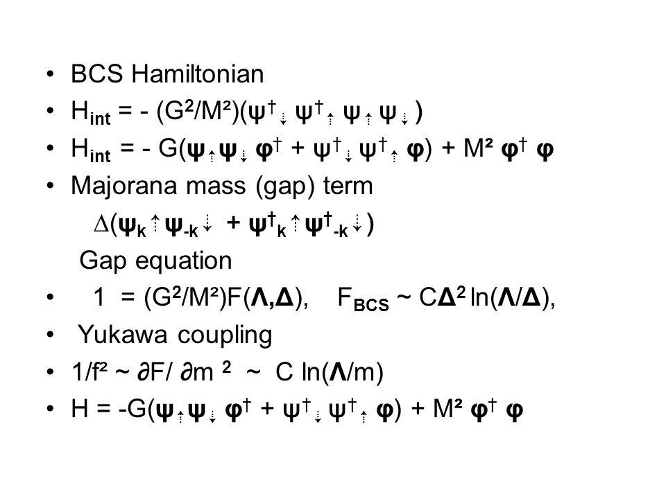BCS Hamiltonian H int = - (G 2 /M²)(ψ † ⇣ ψ † ⇡ ψ ⇡ ψ ⇣ ) H int = - G(ψ ⇡ ψ ⇣ φ † + ψ † ⇣ ψ † ⇡ φ) + M² φ † φ Majorana mass (gap) term ∆(ψ k ⇡ ψ -k ⇣ + ψ † k ⇡ ψ † -k ⇣ ) Gap equation 1 = (G 2 /M²)F(Λ,Δ), F BCS ~ CΔ 2 ln(Λ/Δ), Yukawa coupling 1/f² ~ ∂F/ ∂m 2 ~ C ln(Λ/m) H = -G(ψ ⇡ ψ ⇣ φ † + ψ † ⇣ ψ † ⇡ φ) + M² φ † φ