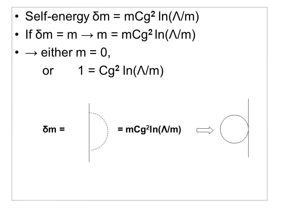 Self-energy δm = mCg 2 ln(Λ/m) If δm = m → m = mCg 2 ln(Λ/m) → either m = 0, or 1 = Cg 2 ln(Λ/m) δm == mCg 2 ln(Λ/m)