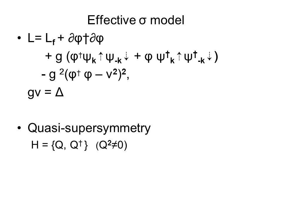 Effective σ model L= L f + ∂φ†∂φ + g (φ † ψ k ⇡ ψ -k ⇣ + φ ψ † k ⇡ ψ † -k ⇣ ) - g 2 (φ † φ – v 2 ) 2, gv = Δ Quasi-supersymmetry H = {Q, Q † } ( Q 2 ≠0)