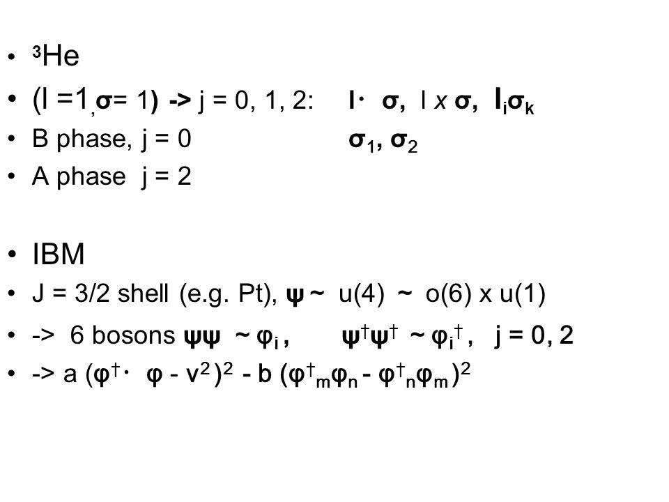 3 He (l =1, σ= 1) -> j = 0, 1, 2: l ・ σ, l x σ, l i σ k B phase, j = 0 σ 1, σ 2 A phase j = 2 IBM J = 3/2 shell (e.g.