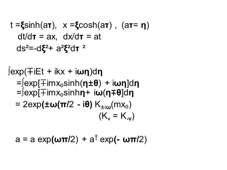 t =ξsinh(aτ), x =ξcosh(aτ), (aτ= η) dt/dτ = ax, dx/dτ = at ds²=-dξ²+ a²ξ²dτ ² ∫exp( ∓ iEt + ikx + iωη)dη =∫exp[ ∓ imx ₀ sinh(η±θ) + iωη]dη =∫exp[ ∓ imx ₀ sinhη+ iω(η ∓ θ]dη = 2exp(±ω(π/2 - iθ) K ±iω (mx ₀ ) (K ν = K -ν ) a = a exp(ωπ/2) + a † exp(- ωπ/2)