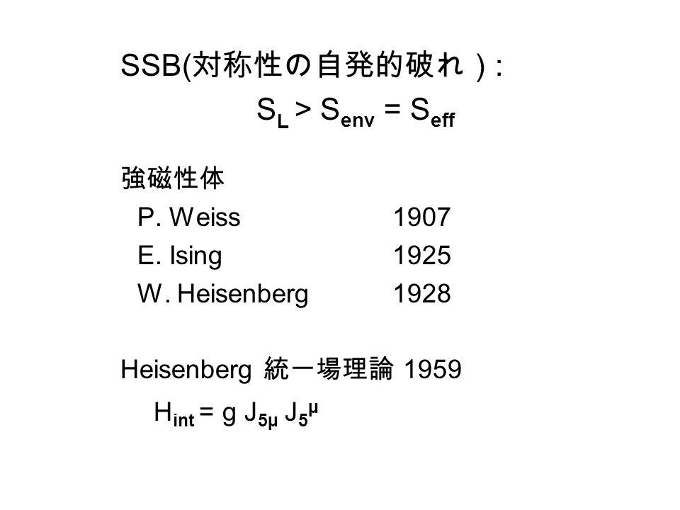 SSB( 対称性の自発的破れ) : S L > S env = S eff 強磁性体 P. Weiss1907 E.