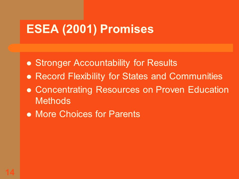 14 ESEA (2001) Promises Stronger Accountability for Results Record Flexibility for States and Communities Concentrating Resources on Proven Education Methods More Choices for Parents