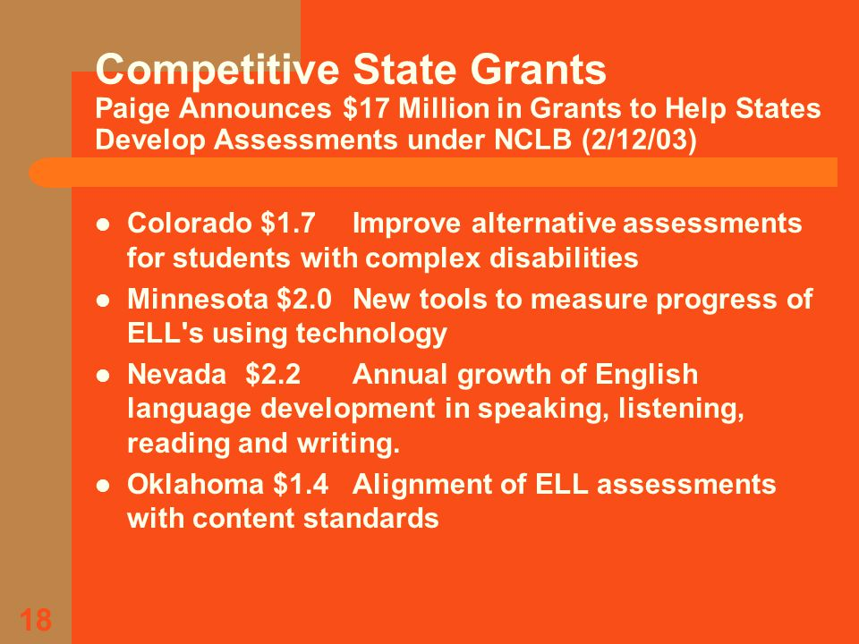 18 Competitive State Grants Paige Announces $17 Million in Grants to Help States Develop Assessments under NCLB (2/12/03) Colorado $1.7Improve alternative assessments for students with complex disabilities Minnesota $2.0New tools to measure progress of ELL s using technology Nevada $2.2 Annual growth of English language development in speaking, listening, reading and writing.